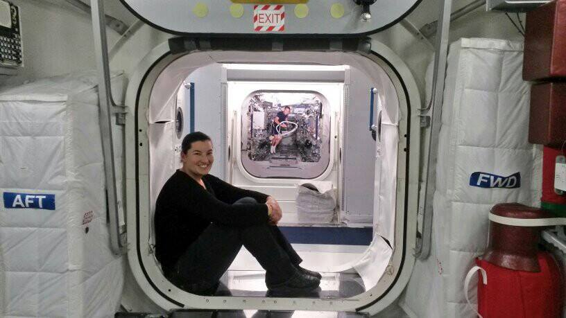 Taking a break between all the serious work and tests to chill in the ISS Columbus Module