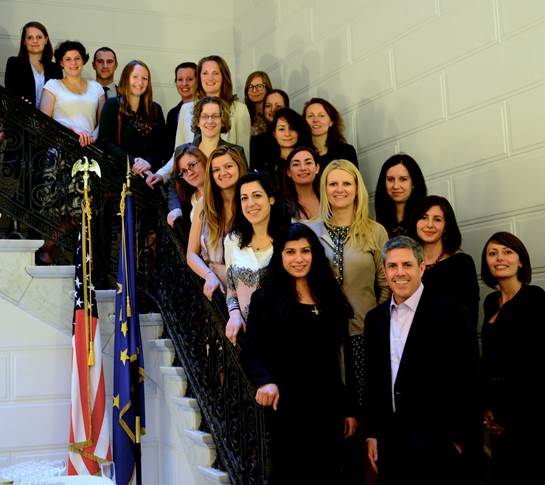 Participants with Eric Schnure at U.S. Mission to EU